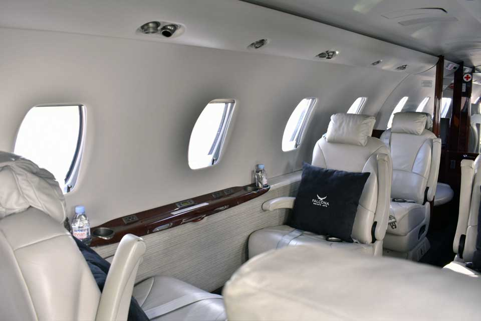 Cessna Citation XLS private jet interior
