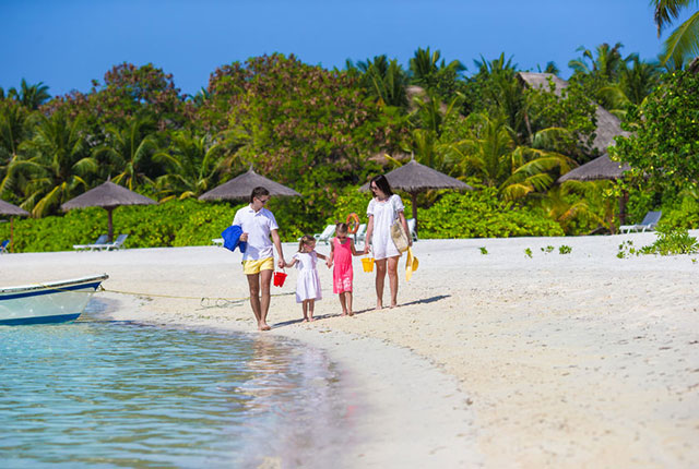 family beach holiday by private jet
