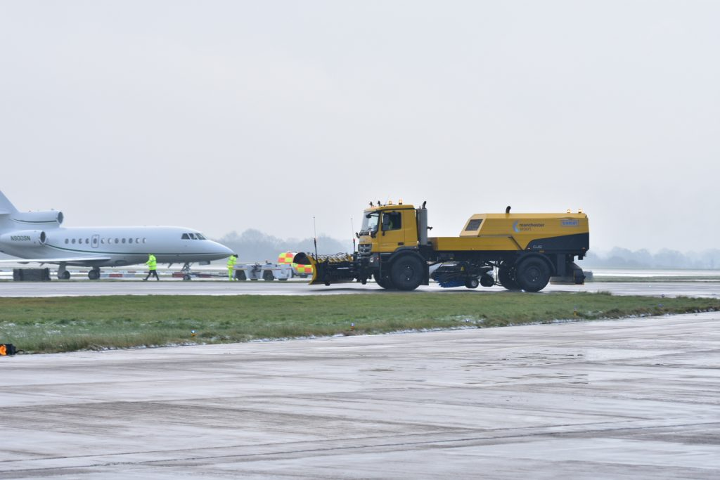 private jet snow plough manchester airport