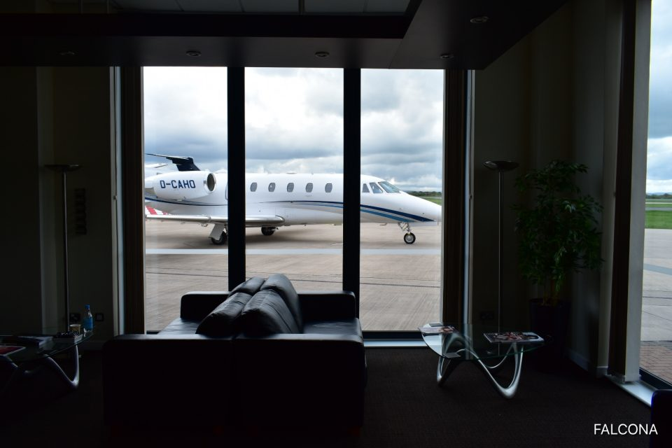 VIP lounge at Manchester Airport with private jet