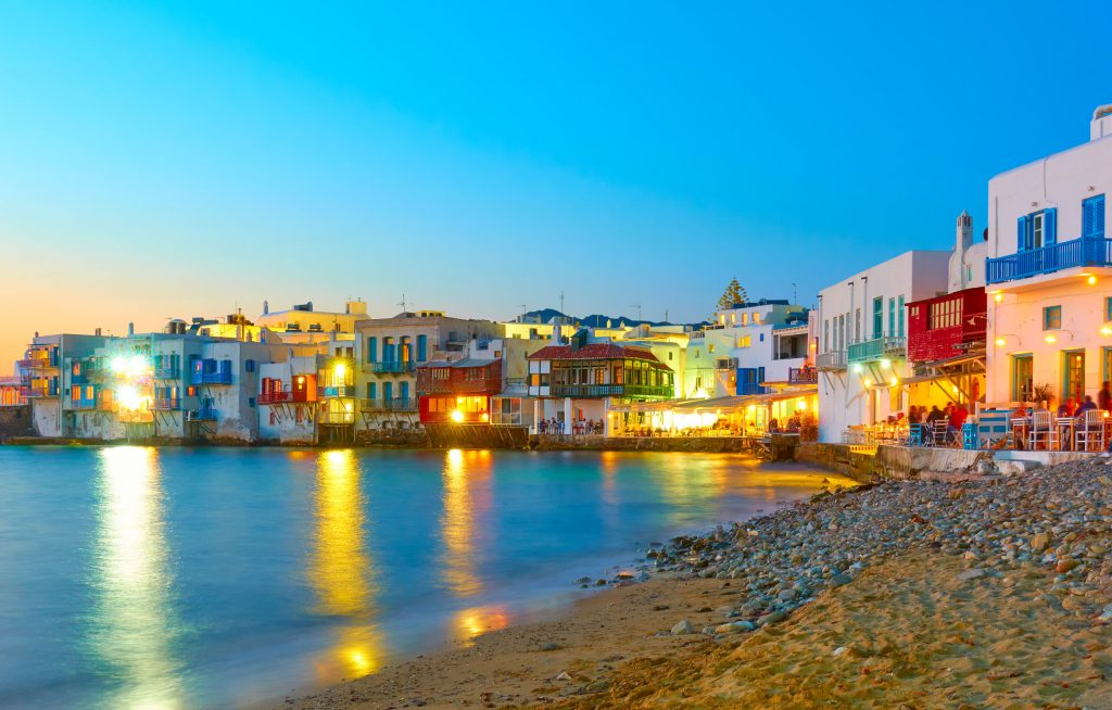 Little Venice district in Mykonos island at night, cyclades, Greece