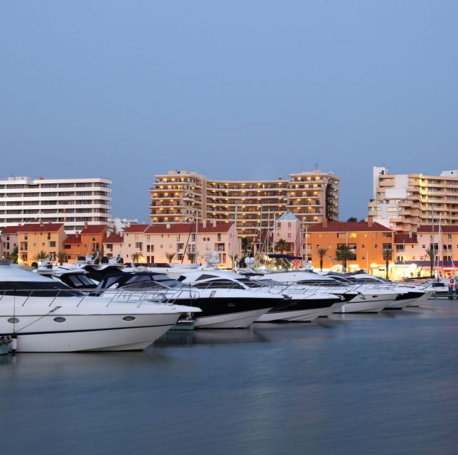 luxury yachts at the villamoura marina in algarve, portugal