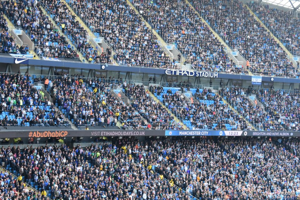 Manchester City FC supporters at the Etihad Stadium