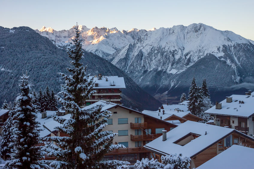 morning in mountain winter village verbier switzerland