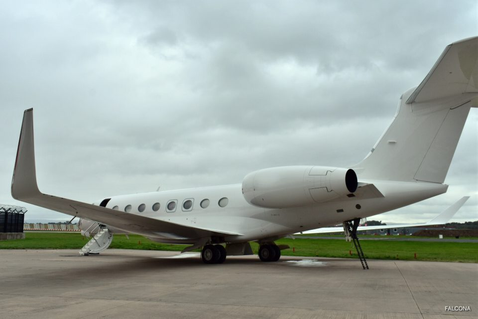 Gulfstream G650 on the ramp at Manchester Airport