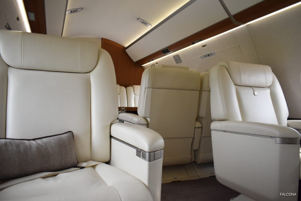 Gulfstream G650ER interior leather seats