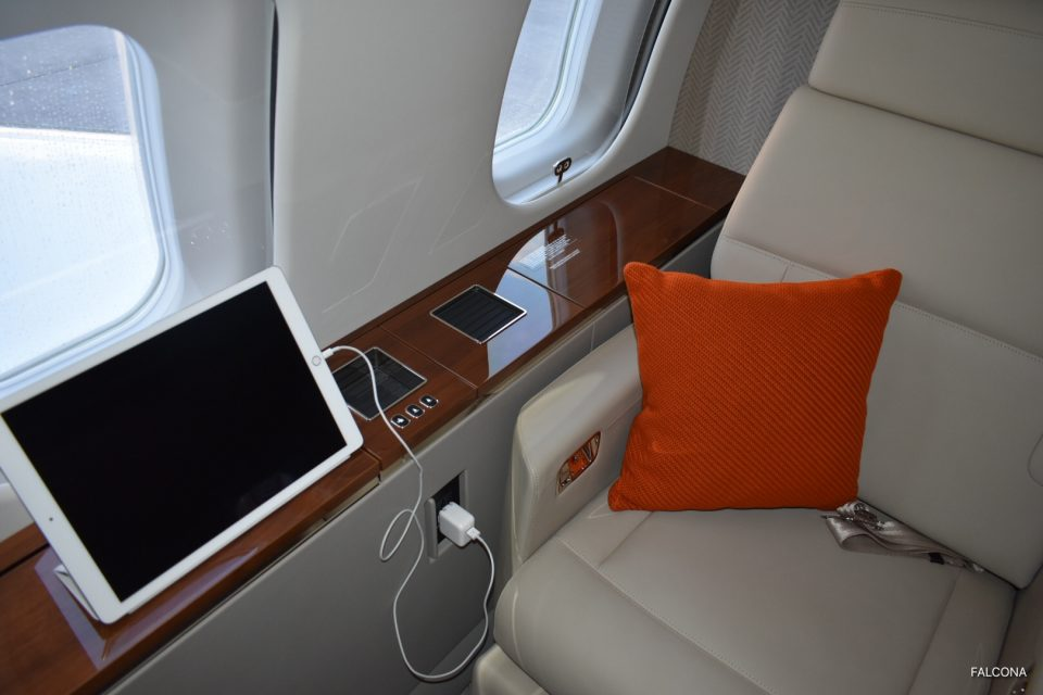 Bombardier Global 5000 interior seat and ipad