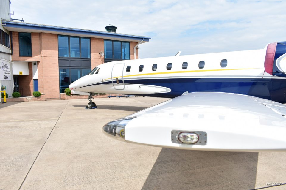 Manchester Airport private jet ramp with citation sovereign private jet