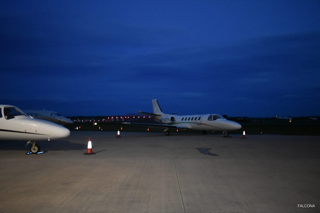 {Aircraft at Manchester Airport at night