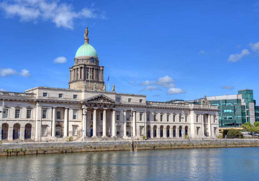 The Custom House across the River Liffey in Dublin, Ireland.