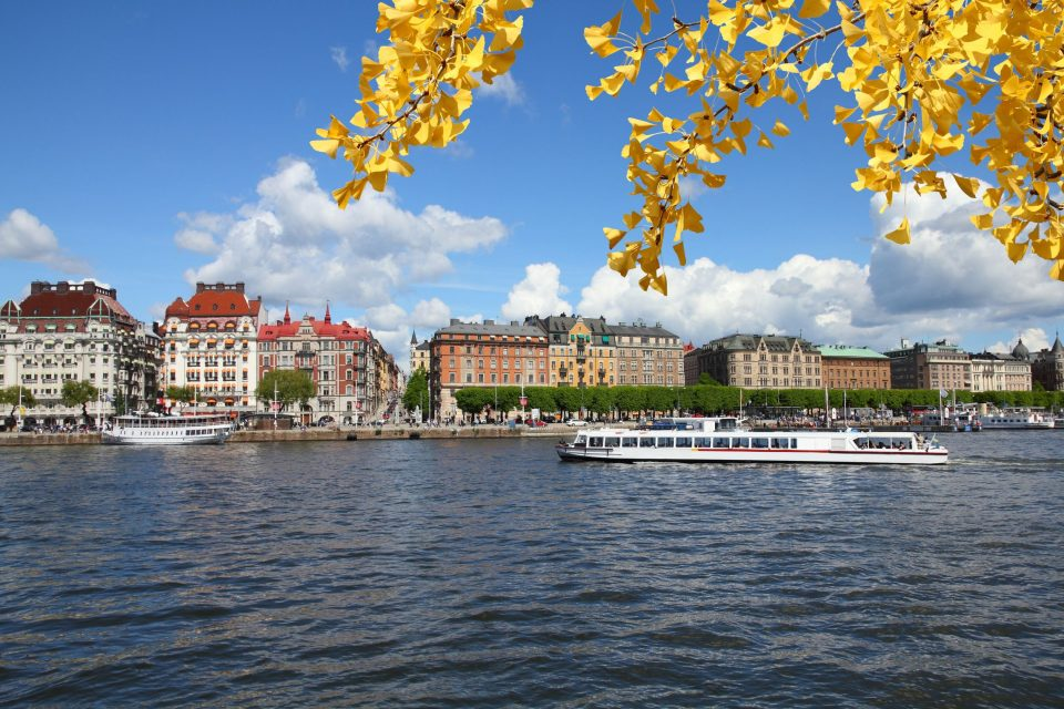 Stockholm, Sweden. Old town cityscape. Autumn leaves.