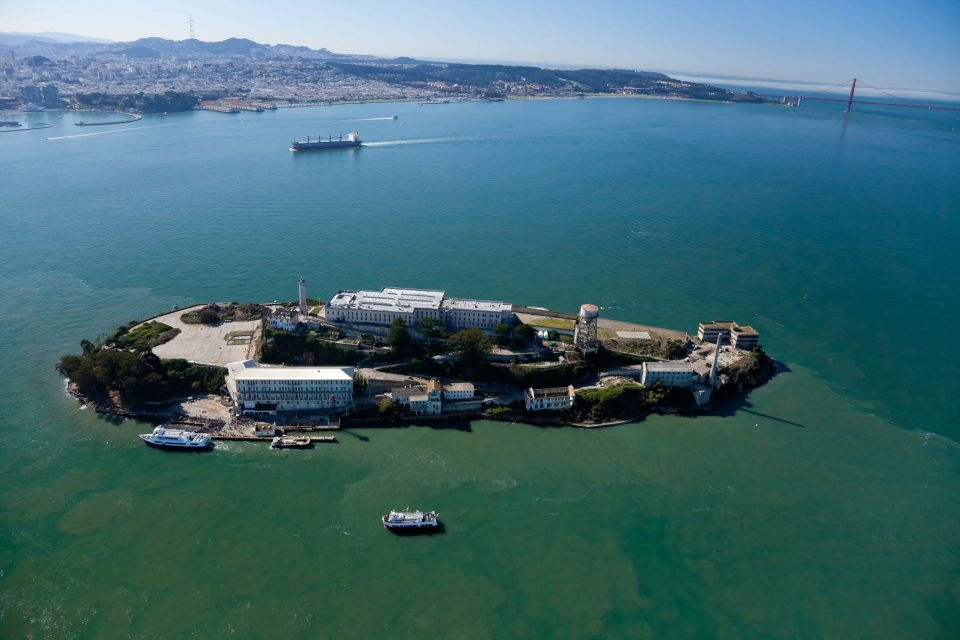 alcatraz jail in san francisco bay aerial