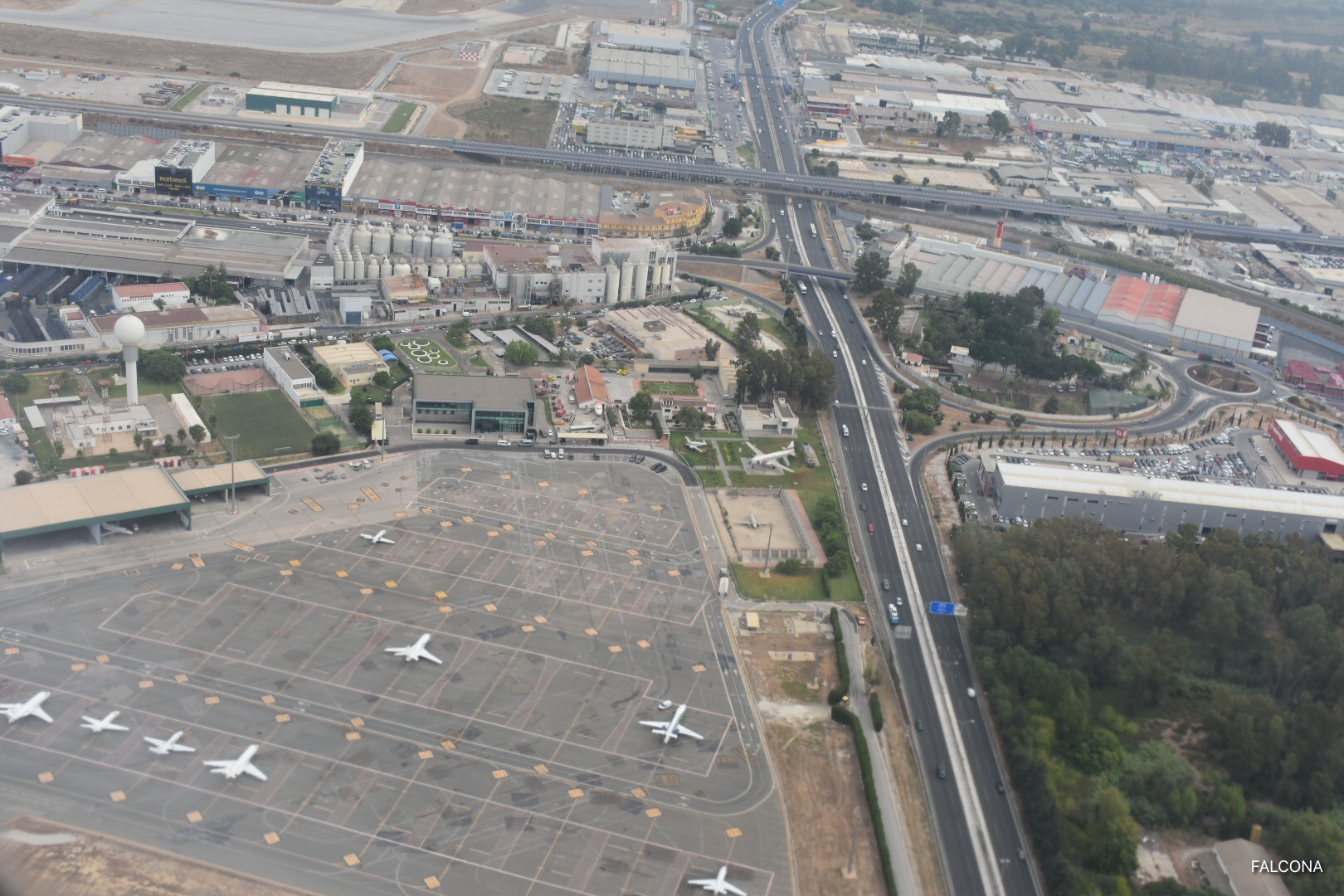 Aerial view of Malaga Airport, private jet area.