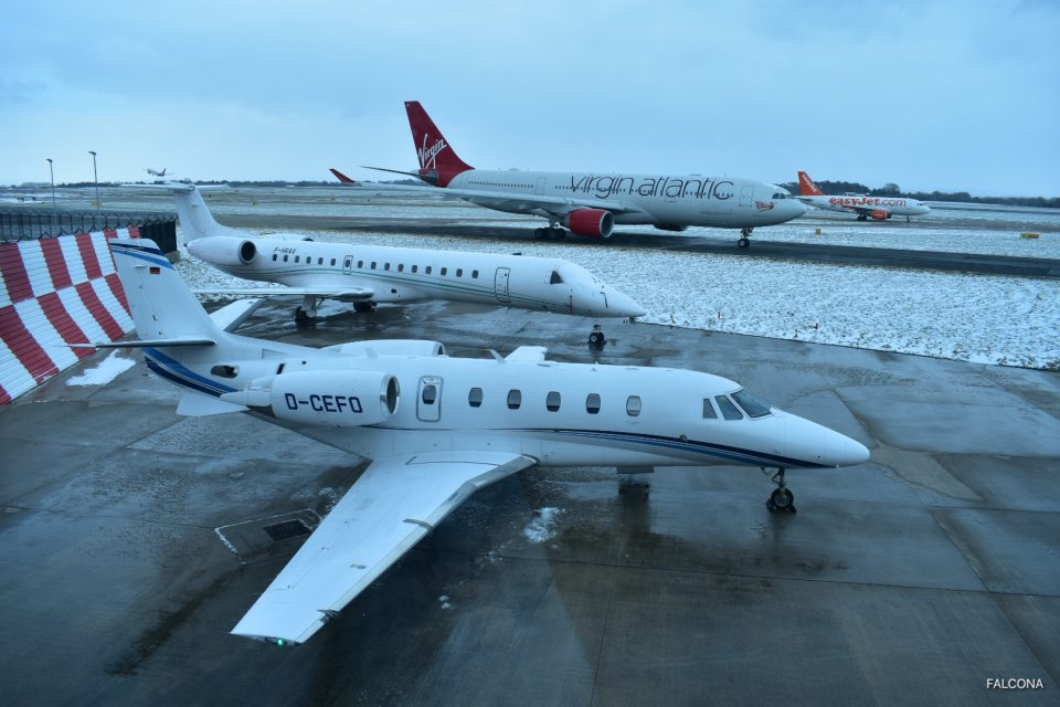 Private jets on the ramp at Manchester during the winter