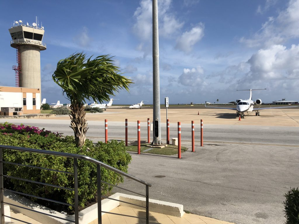 Embraer Legacy 650 at the private jet terminal in Barbados, waiting for Falcona passengers.