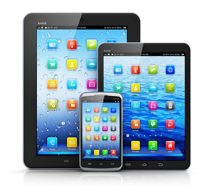 Standard tablet computer, mini version of tablet pc and touchscreen smartphone