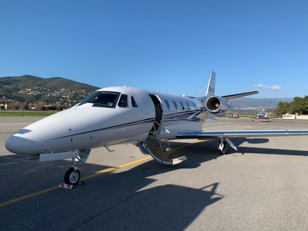 citation xls private jet at cannes airport