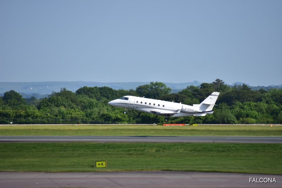 Gulfstream G200 take off at Manchester Airport