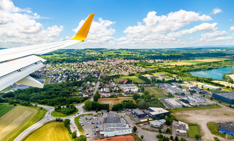 anding at Euroairport Basel-Mulhouse-Freiburg. View of Bartenheim village
