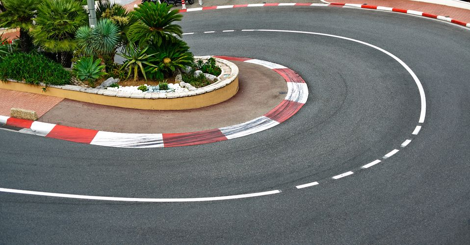 old station hairpin bend motor race asphalt on monaco grand prix street circuit