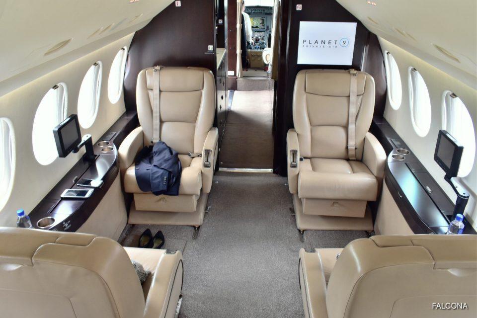 Dassault Falcon 7X interior leather seats cabin