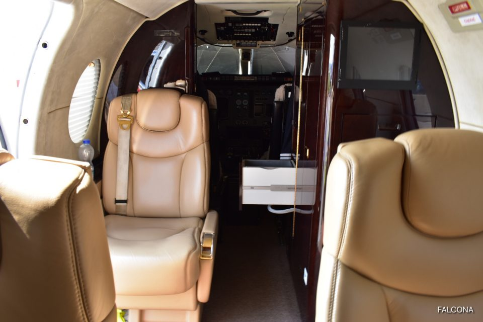Beechjet 400A interior at manchester airport