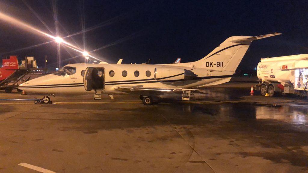 Beechjet 400A at Edinburgh Airport.