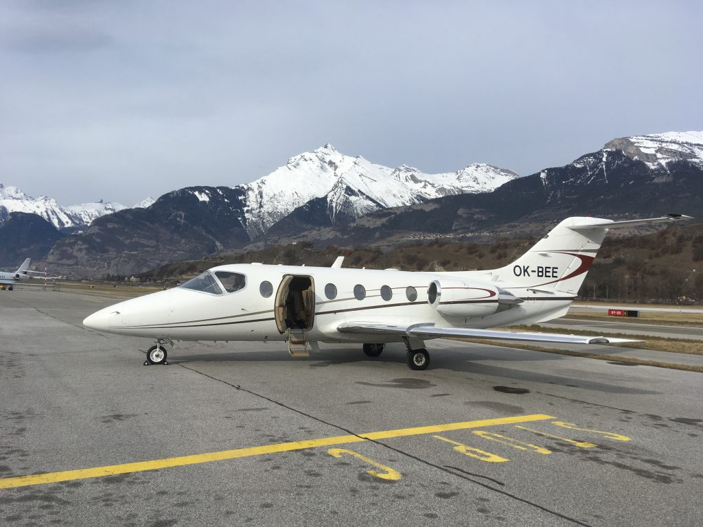 Beechjet 400A at Sion Airport
