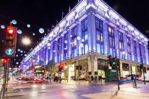 Uk, England, London - 2014 November 13: Oxford street shops Christmas illumination lights decorated New Year